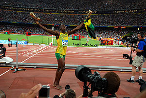 Usain Bolt after his victory and world record ...