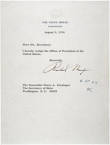 FileLetter of Resignation of Richard M Nixon, 1974jpg - Wikipedia