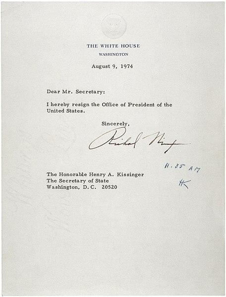 FileLetter of Resignation of Richard M Nixon, 1974jpg - Wikipedia - nixon resignation letter