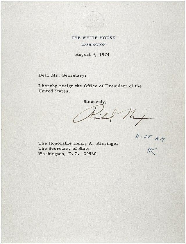 Letter of resignation - Wikiwand - nixon resignation letter