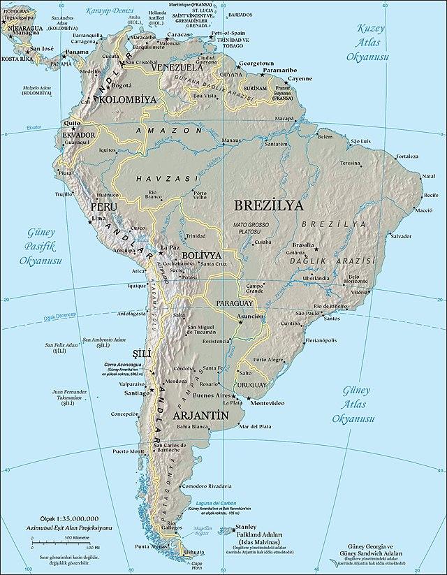 Güney Amerika - Wikiwand - amerika haritasi
