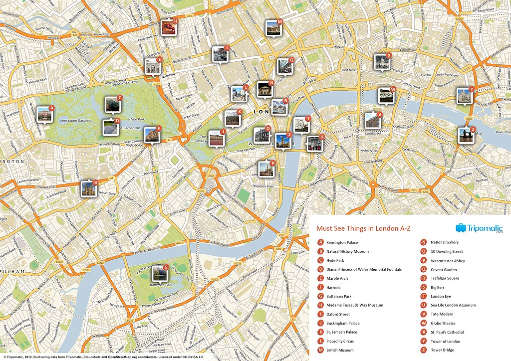 FileLondon printable tourist attractions mapjpg - Wikimedia Commons