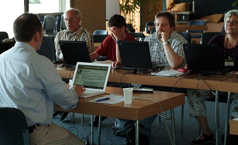 Seniors in an internet cafe