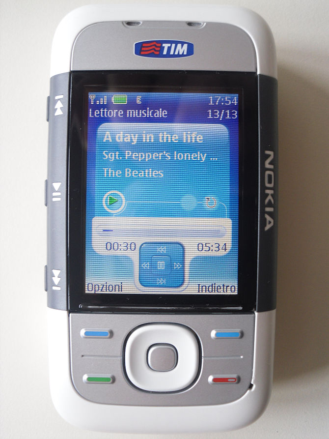 English: Nokia 5300's media player playing &qu...