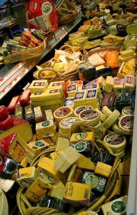 Many cheeses at the supermarket