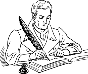 Line art representation of a Quill