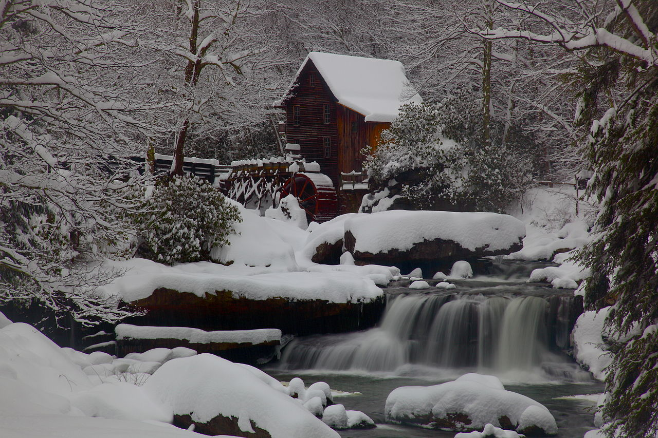 Free Multnoma Falls Winter Wallpaper File Wv Gristmill Waterfall Winter Snow Pub West