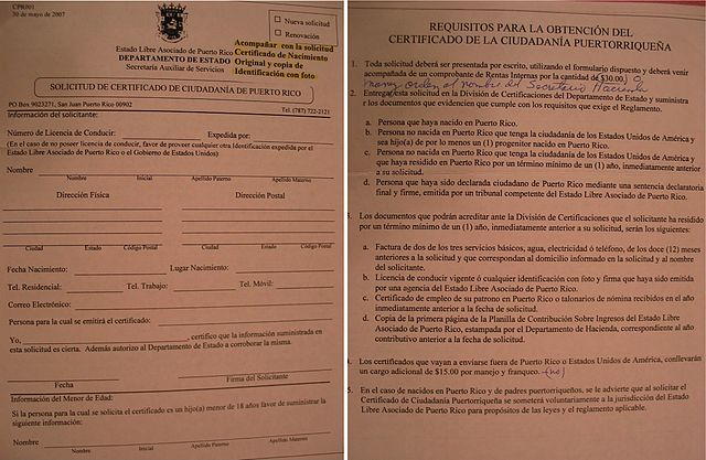 FileApplication Form for Certificate of Puerto Rican Citizenship