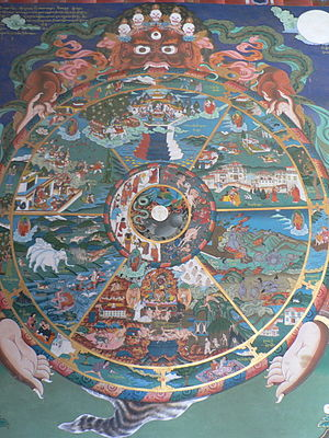 Traditional Tibetan picture or Thanka showing ...