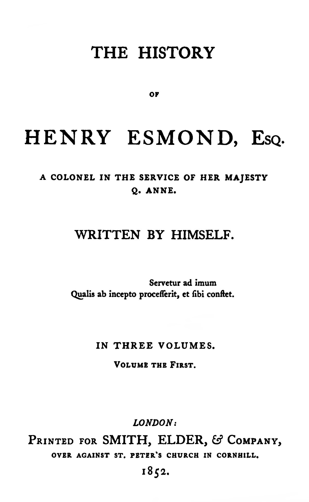 O History S The History Of Henry Esmond Wikipedia