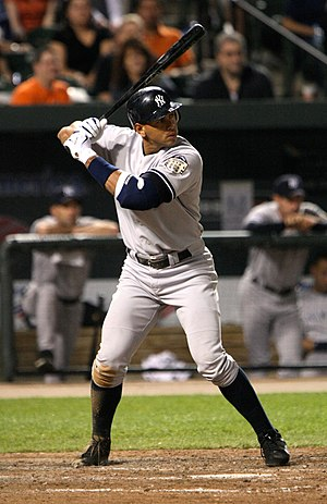Alex Rodriguez bats in a game on April 19, 2008.