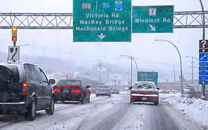 English: Driving in Dartmouth during winter on...
