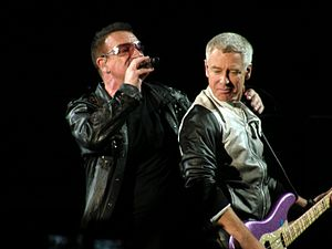 Bono and Adam Clayton during a U2 concert at S...