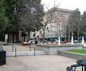 This is Old Courthouse Square, the heart of do...