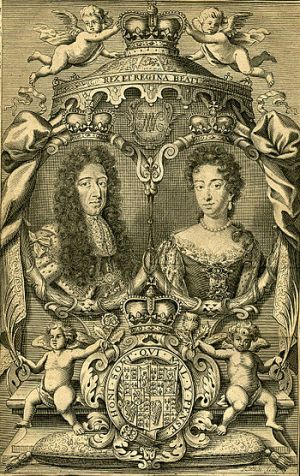 English: Engraving of King William III and his...
