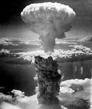 Atomic bombing of Nagasaki on August 9, 1945.