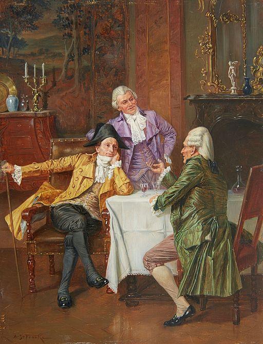 Albert Joseph Franke Rokokointerieur mit disputierenden Herren