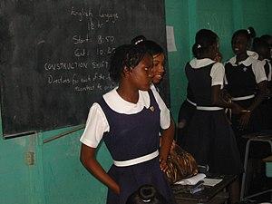 English: Jamaican teens in Kingston, Jamaica f...