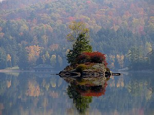 Island of Lower Saranac Lake, Adirondack Mount...