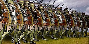 A reconstruction diagram of the Greek hoplites forming a phalanx formation.