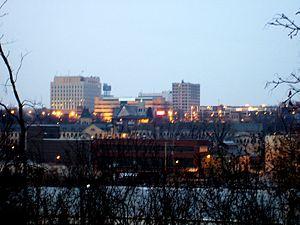 English: The skyline of Appleton, Wisconsin as...