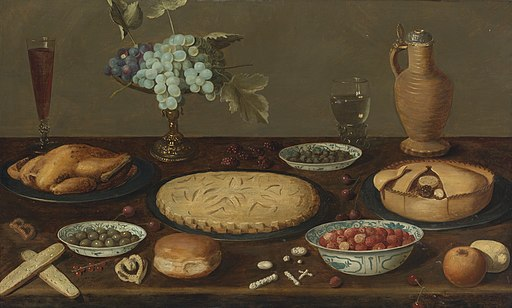 Circle of Jacob van Es Still Life with Meat Pies, a Roast Fowl, Olives, Capers and Strawberries