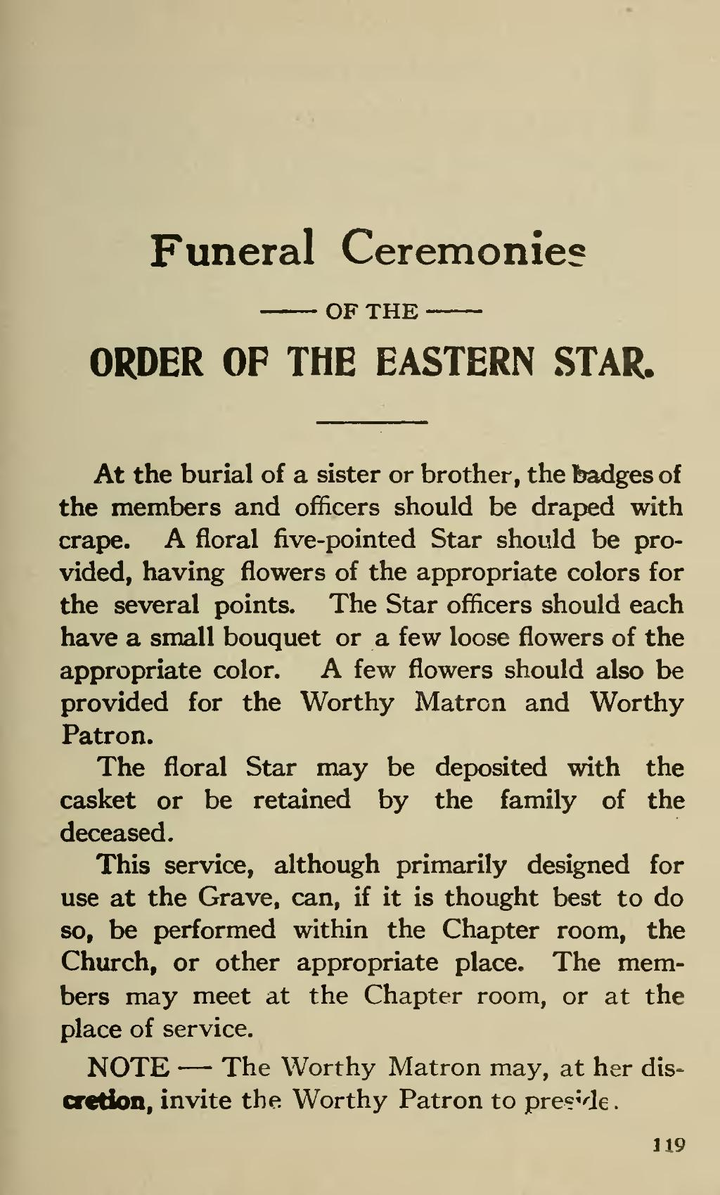 Read The Book Online Page:ritual Of The Order Eastern Star (1921).djvu/129