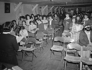 Sunday school class, Manzanar Relocation Cente...