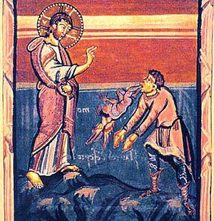 Medieval book illustration of Christ Exorcisin...
