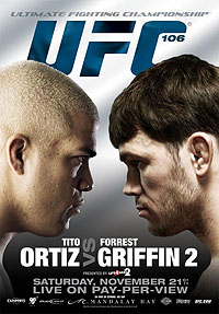A poster or logo for UFC 106: Ortiz vs. Griffin 2.