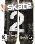 cover for EA Games' Skate 2- a simple design with the title in white font overlaid across an image of two upturned skateboards.
