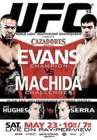 A poster or logo for UFC 98: Evans vs. Machida.
