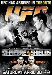 A poster or logo for UFC 129: St-Pierre vs. Shields.