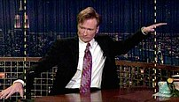 Conan O' Brien poking fun at his show's then-n...