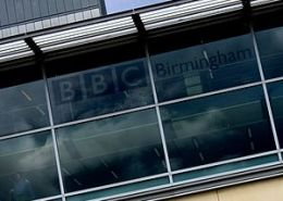 The back of the BBC Birmingham headquarters in...