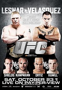 A poster or logo for UFC 121: Lesnar vs. Velasquez.