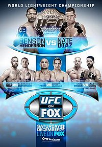 A poster or logo for UFC on Fox: Henderson vs. Diaz.