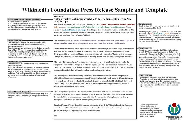 FileWMF Press Release Template Samplepdf - Wikimedia Foundation