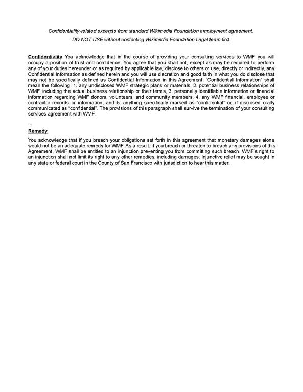 FileWMF Employment Agreement Confidentiality Clauses-2013pdf