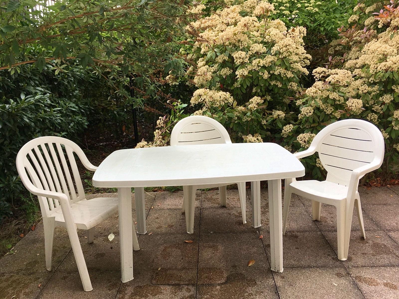 Table De Jardin Blanche Plastique | Salon De Jardin Résine Tressée ...