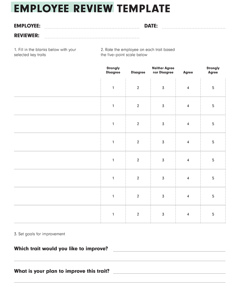 Offer Request an Employee Review Template