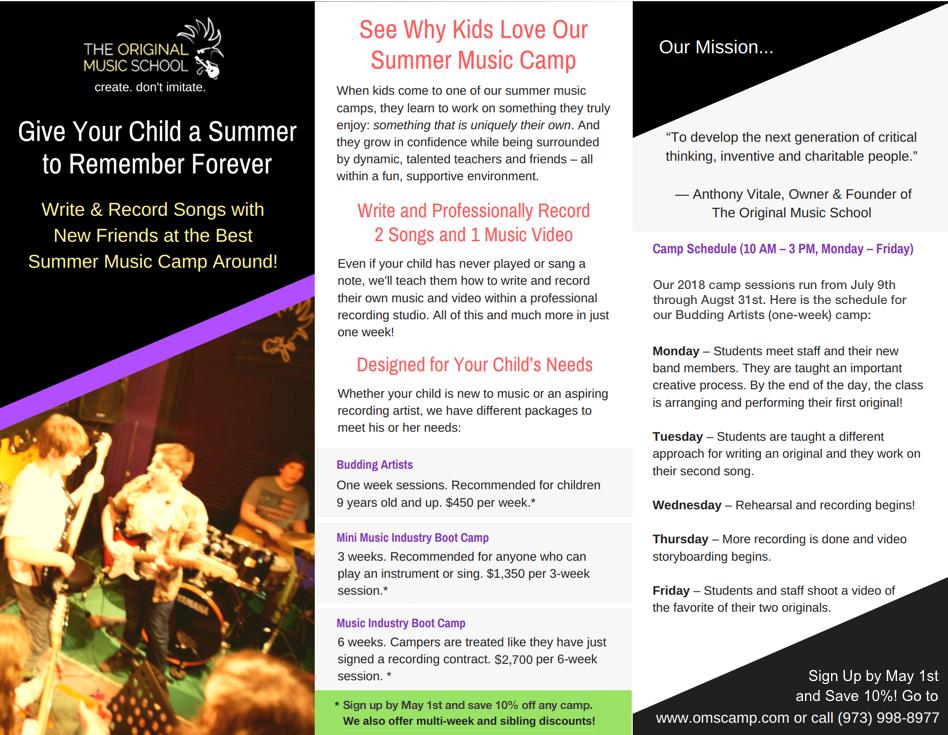 Request Our Music Camp Brochure - Original Music School