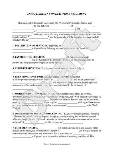 Independent Contractor Contract Template - Bonsai