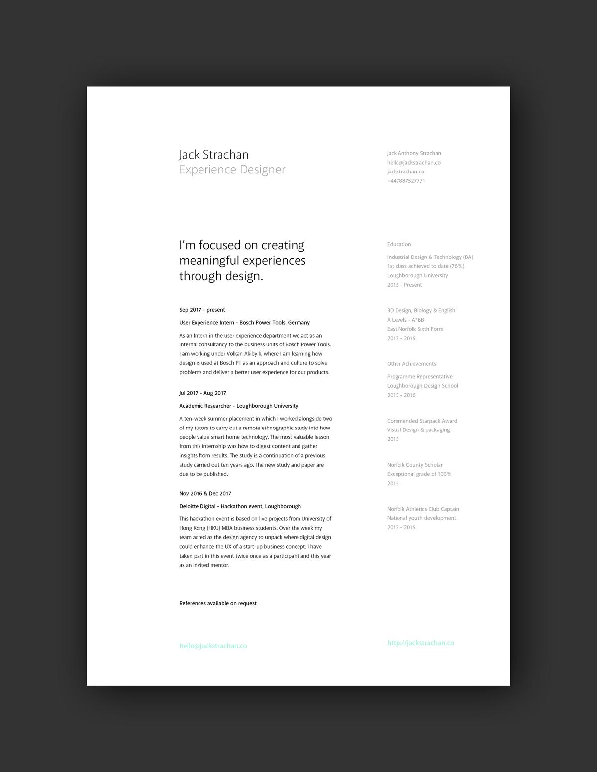 resume portfolio cover page examples
