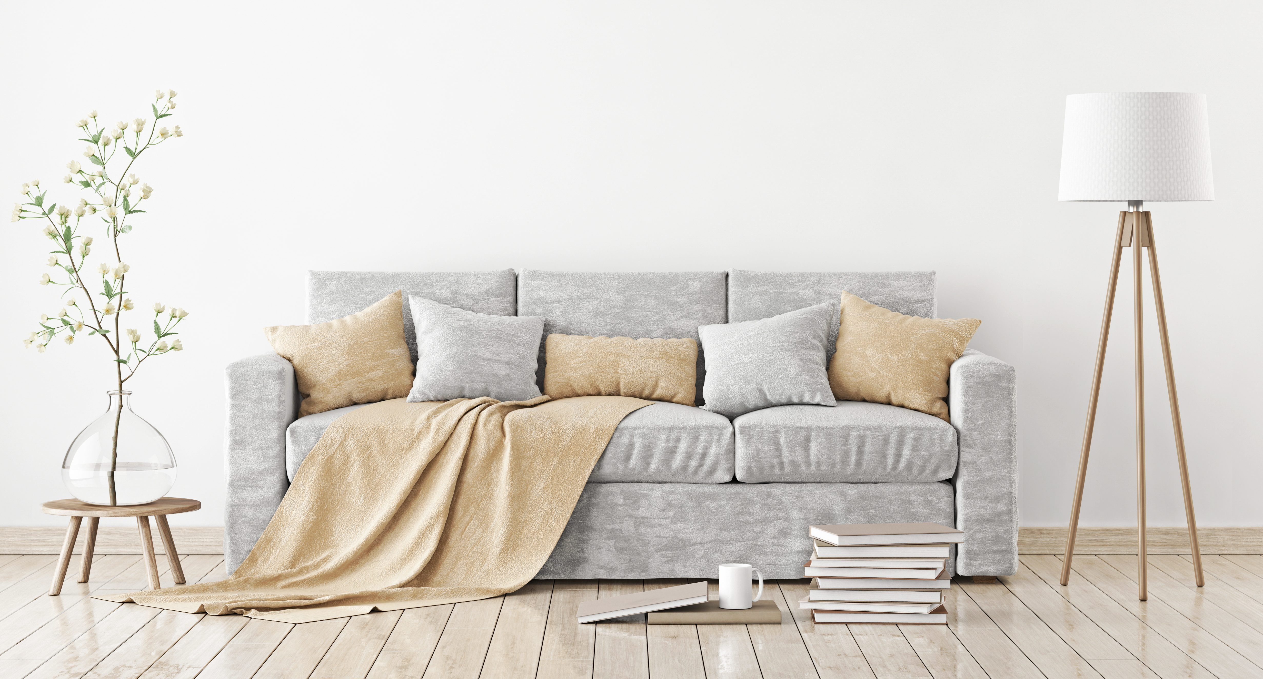 Modern Bed Empty White Wall Mockup With Sofa, Pillows, Plaid And Lamp