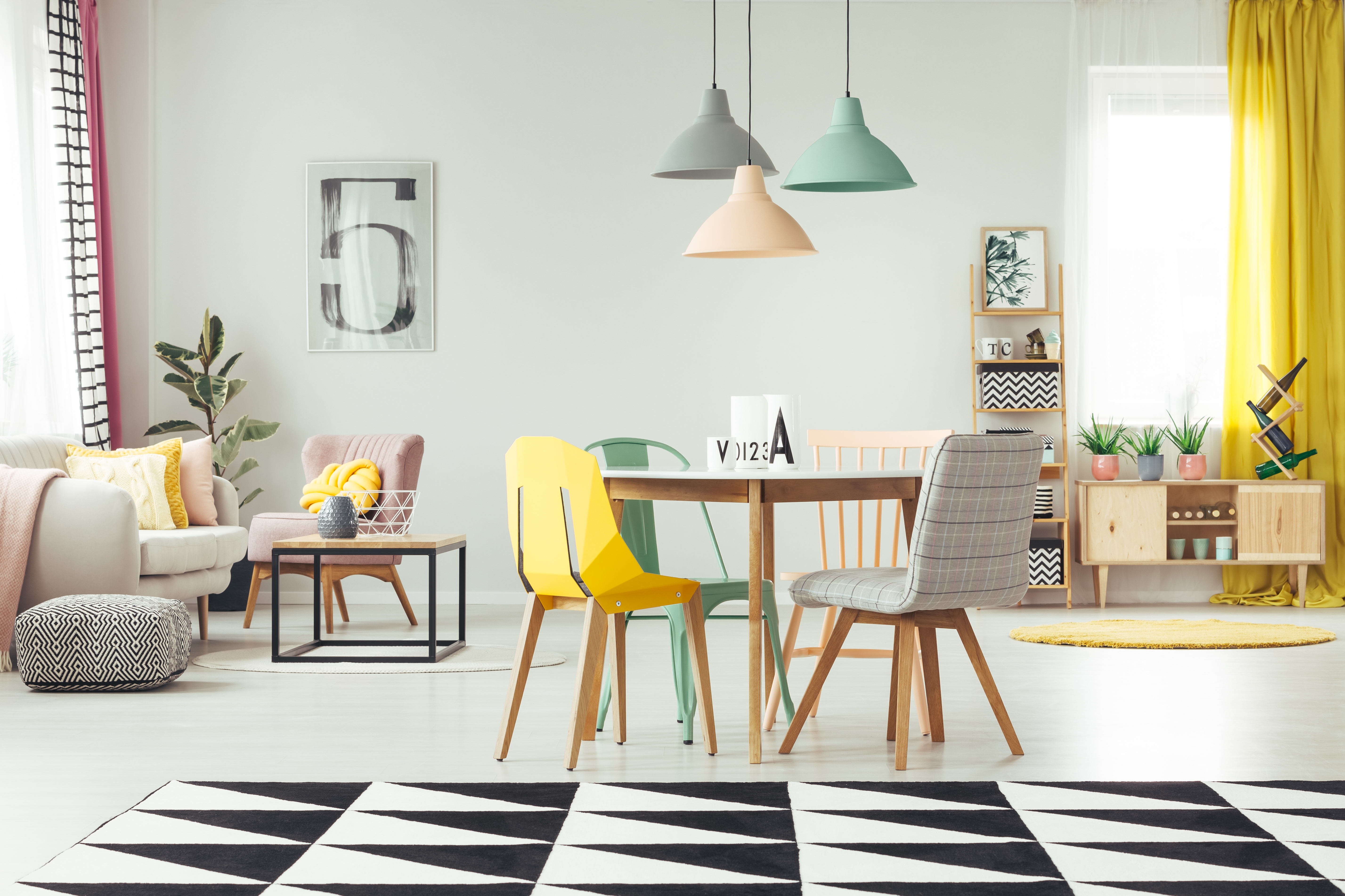Yellow Accents Home Decor Grey And Yellow Dining Room With A