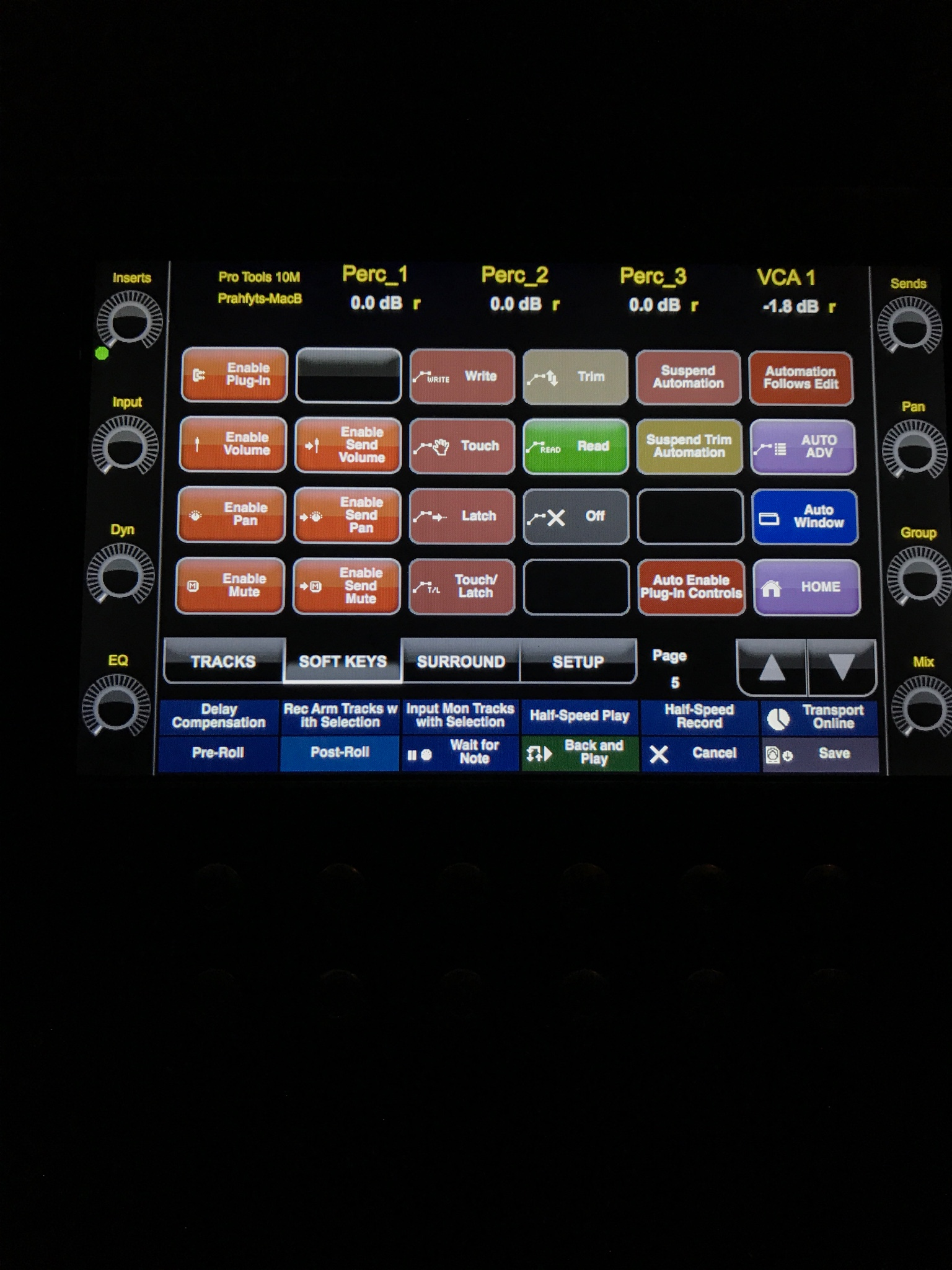 Automation Control Select Automation Modes Using Artist Control Touchscreen Avid