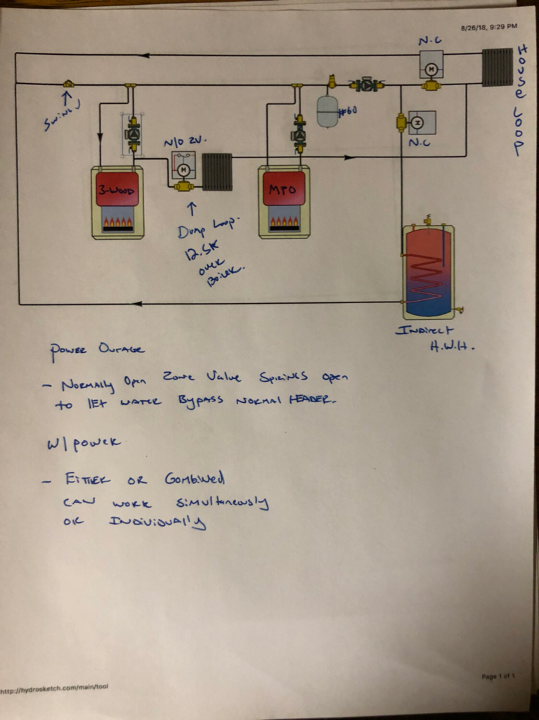 Wood / Oil boiler piping schematic