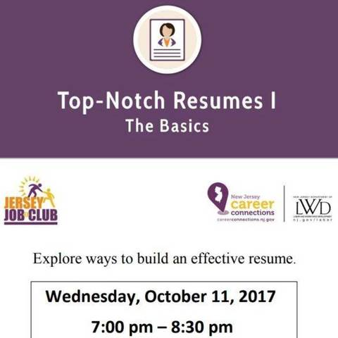Jersey Job Club Workshop for Youth Top Notch Resumes I The Basics