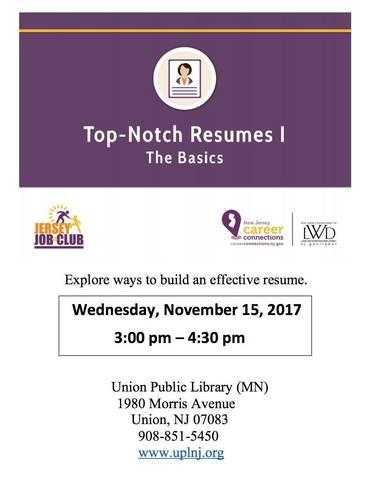 Jersey Job Club Workshop Top Notch Resumes TAPinto